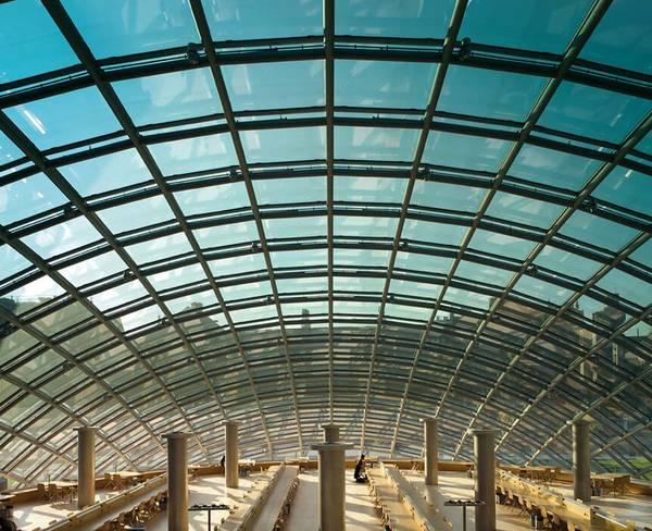 seele manufactured and assembled the ellipsoid glass dome as well as the connecting glass bridge for the mansueto library in Chicago.