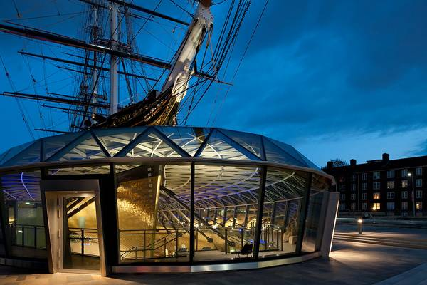 The Cutty Sark was raised 3m above street level and works as a museum ship with a glass canopy construction, made by seele.