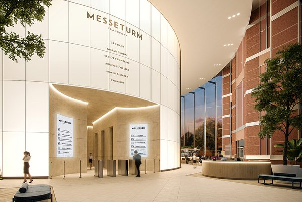 Interior glass façade backlit with full-surface LED panels for the lobby of Messeturm, made by seele.
