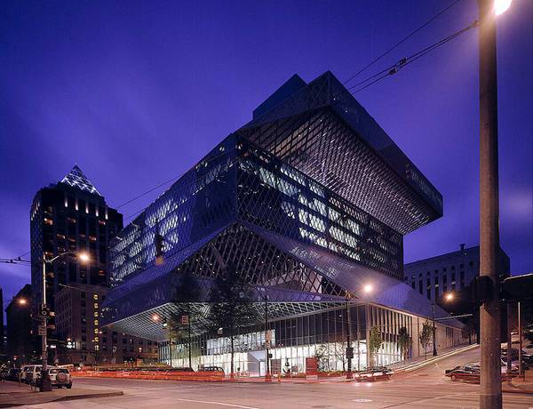 Exactly 9,994 panes were assembled for the glass façade of the central library in seattle by seele.