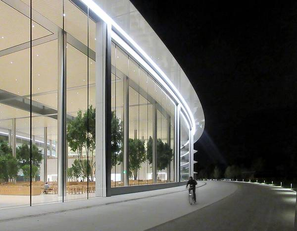 Apple's new company headquarters with two sliding façade elements in Cupertino, USA.