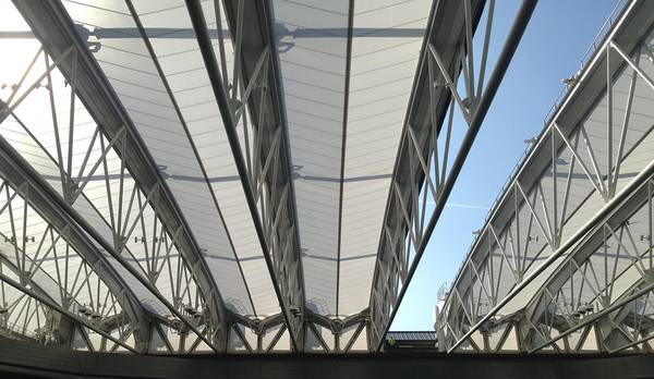 Retractable roof out of PTFE membranes by seele