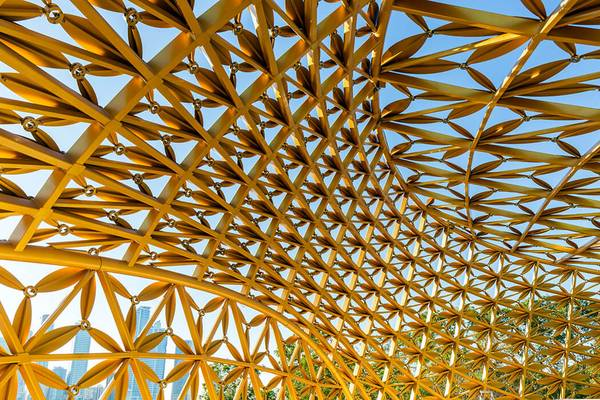 The roof structure of the butterfly house has a very complex geometry.