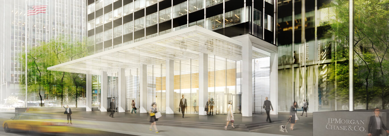New entrance area with canopy for 277 Park Avenue by seele.