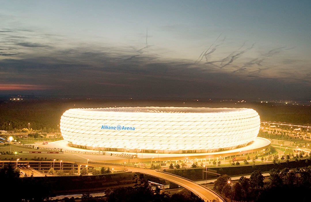 The stadium's façade consists of two-ply printed membranes with variable backlighting.