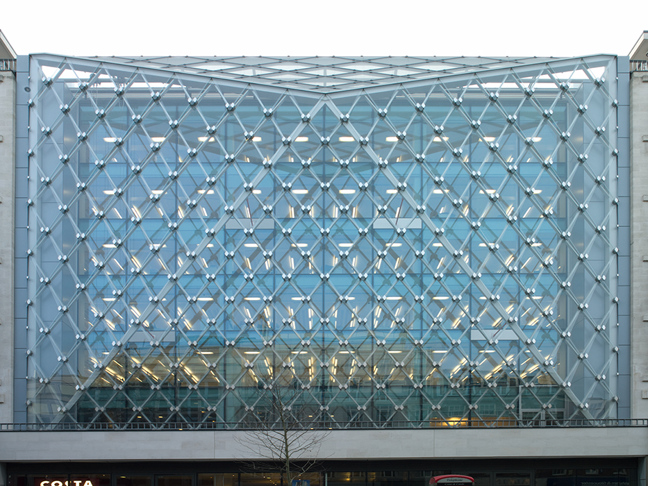 The four diamond-shaped glass panels come together in a node system what is a global first.