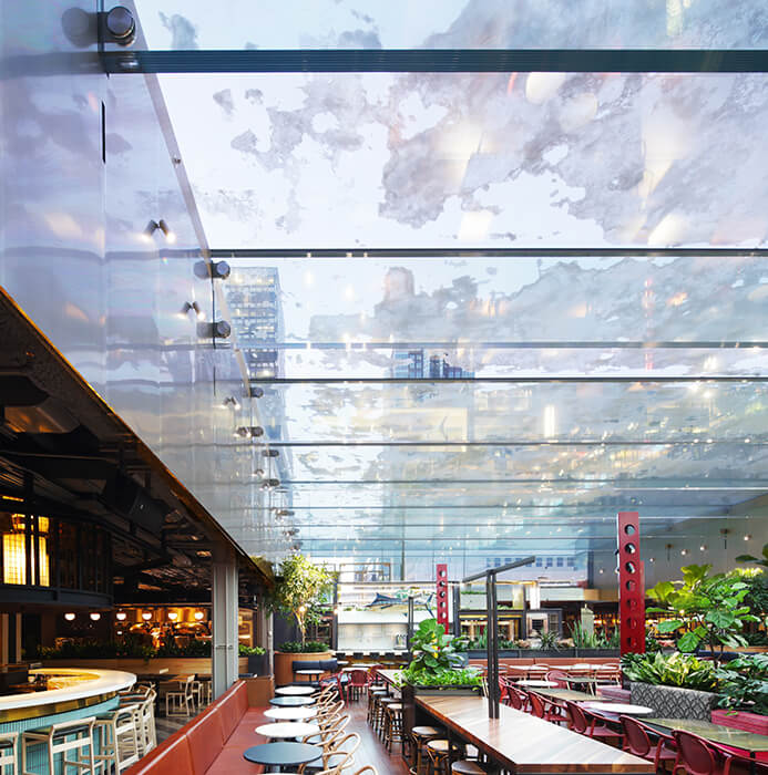 All-glass structure for Grand Hall at Place Ville Marie in Montreal made by seele