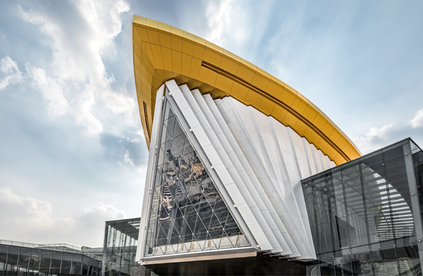 ICONSIAM Wisdom Hall a steel A-frame at the highest point of the luxury shopping centre in Bangkok.