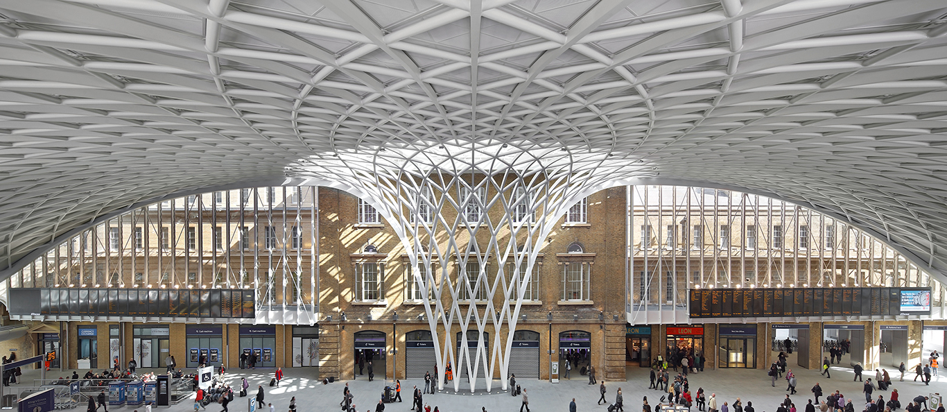 The Train Station King's Cross in London has been roofed with an unique freestanding shell structure, made by façades specialist seele.