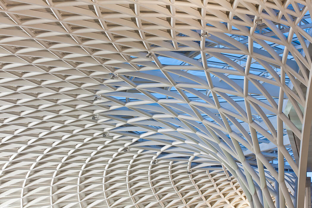 The positions of the prefabricated ladder elements for the King's Cross Station has b een exactly set out by seele.
