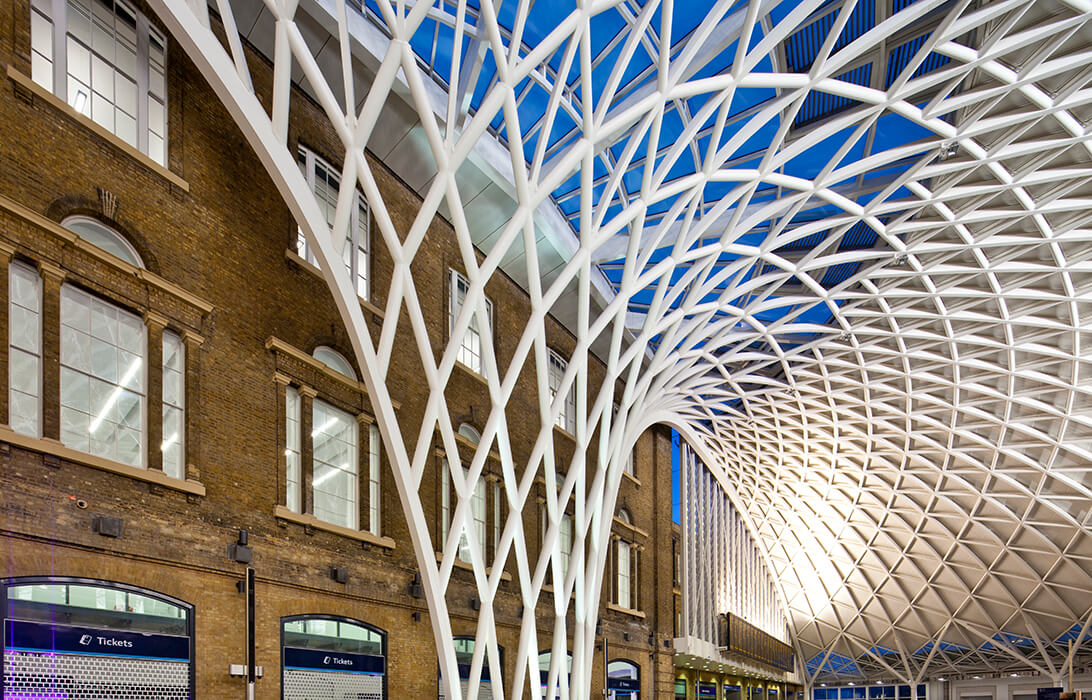 The freestanding shell structure of the king's cross railway station in London starts with a funnel.