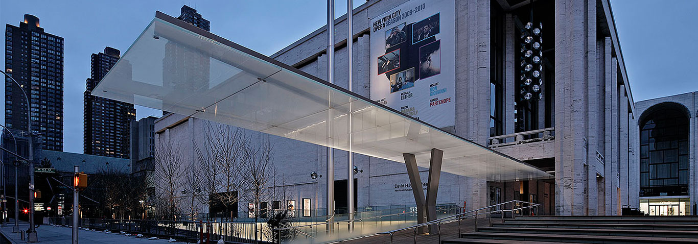 "seele realized the two transparent, light glass canopies for New York's ""Lincoln Center for the Performing Arts""."