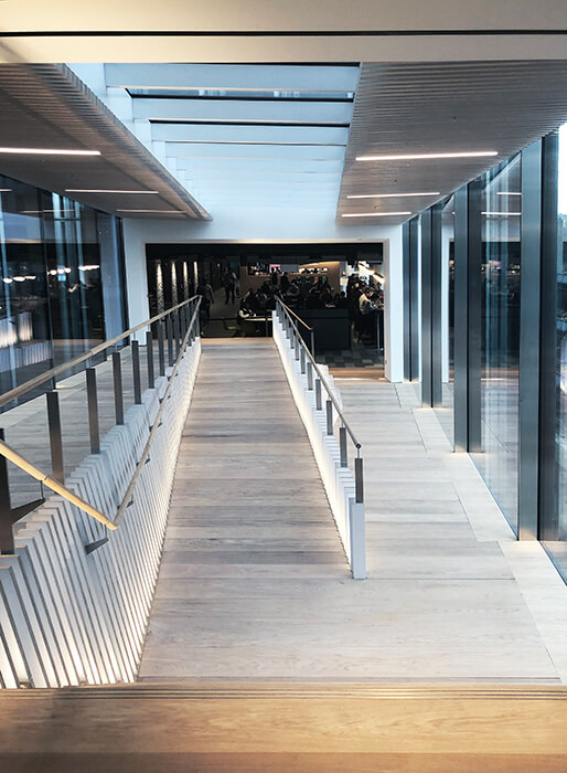 Steel-and-glass design for the link bridges on new street square in London made by seele