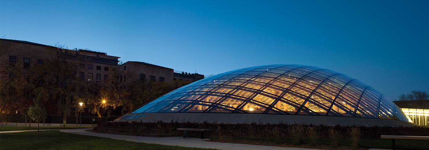 The Mansueto Library is an extension in the shape of an elliptical glass out of a steel-and-aluminium framework, manufactured and assembled by façade specialist seele.
