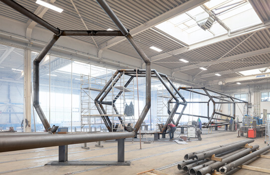 High-precision steel construction based on highly complex 3D models at seele