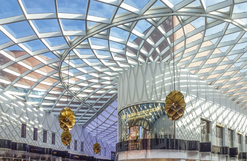 Victoria Gate Arcades in Leeds, Atrium roof, 3D grid roof with funnel-shaped lightwell.